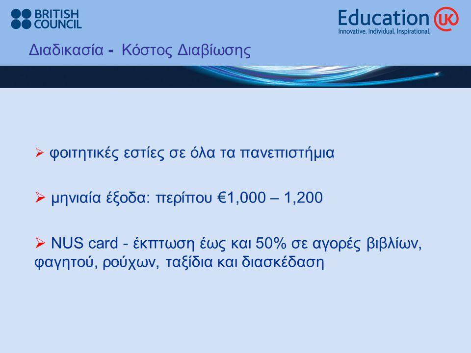 Διαδικασία - Κόστος Διαβίωσης  φοιτητικές εστίες σε όλα τα πανεπιστήμια  μηνιαία έξοδα: περίπου €1,000 – 1,200  NUS card - έκπτωση έως και 50% σε αγορές βιβλίων, φαγητού, ρούχων, ταξίδια και διασκέδαση
