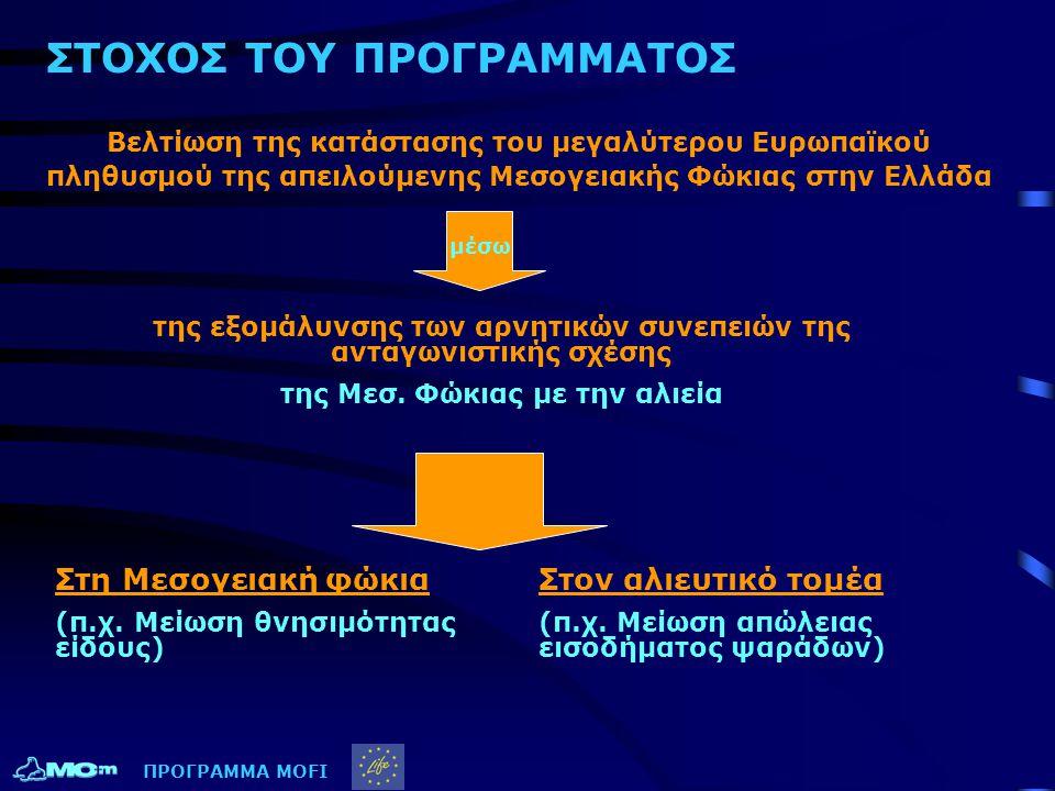 ΣΤΟΧΟΣ ΤΟΥ ΠΡΟΓΡΑΜΜΑΤΟΣ Βελτίωση της κατάστασης του μεγαλύτερου Ευρωπαϊκού πληθυσμού της απειλούμενης Μεσογειακής Φώκιας στην Ελλάδα Στη Μεσογειακή φώ