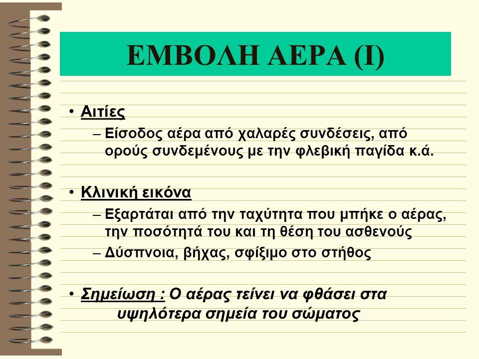 ΕΜΒΟΛΗ ΑΕΡΑ (Ι) Αιτίες –Είσοδος αέρα από χαλαρές συνδέσεις, από ορούς συνδεμένους με την φλεβική παγίδα κ.ά. Κλινική εικόνα –Εξαρτάται από την ταχύτητ