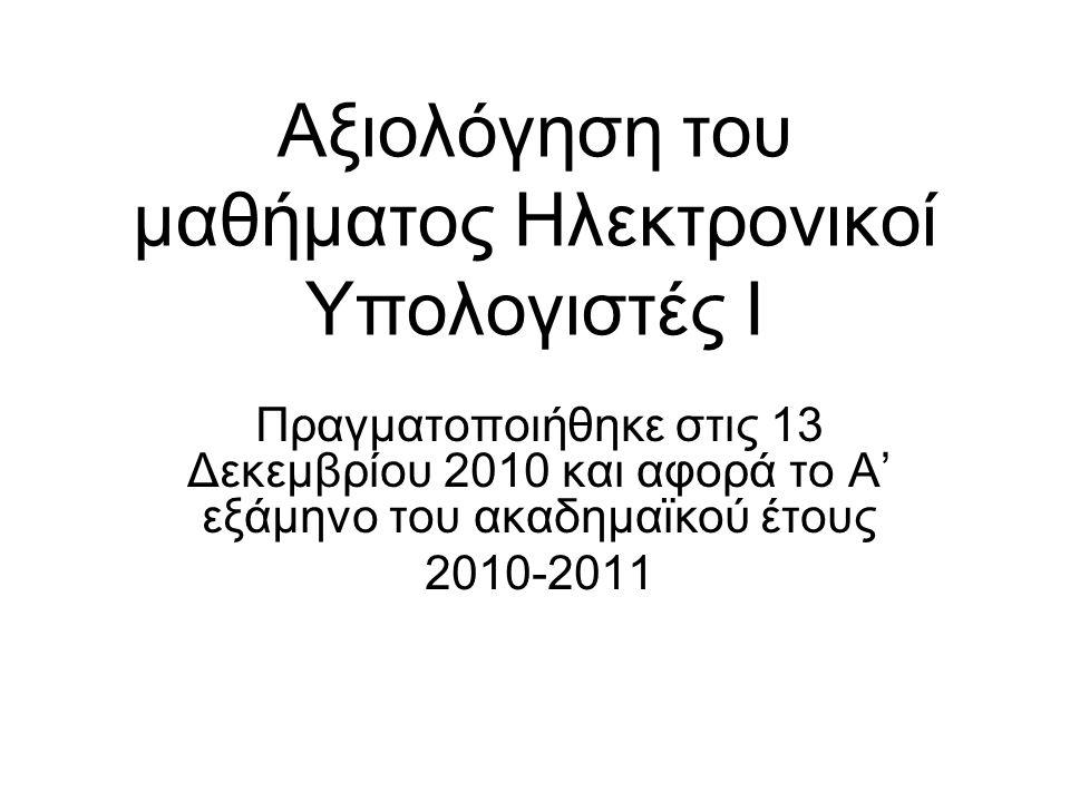 Αξιολόγηση του μαθήματος Ηλεκτρονικοί Υπολογιστές I Πραγματοποιήθηκε στις 13 Δεκεμβρίου 2010 και αφορά το Α' εξάμηνο του ακαδημαϊκού έτους 2010-2011