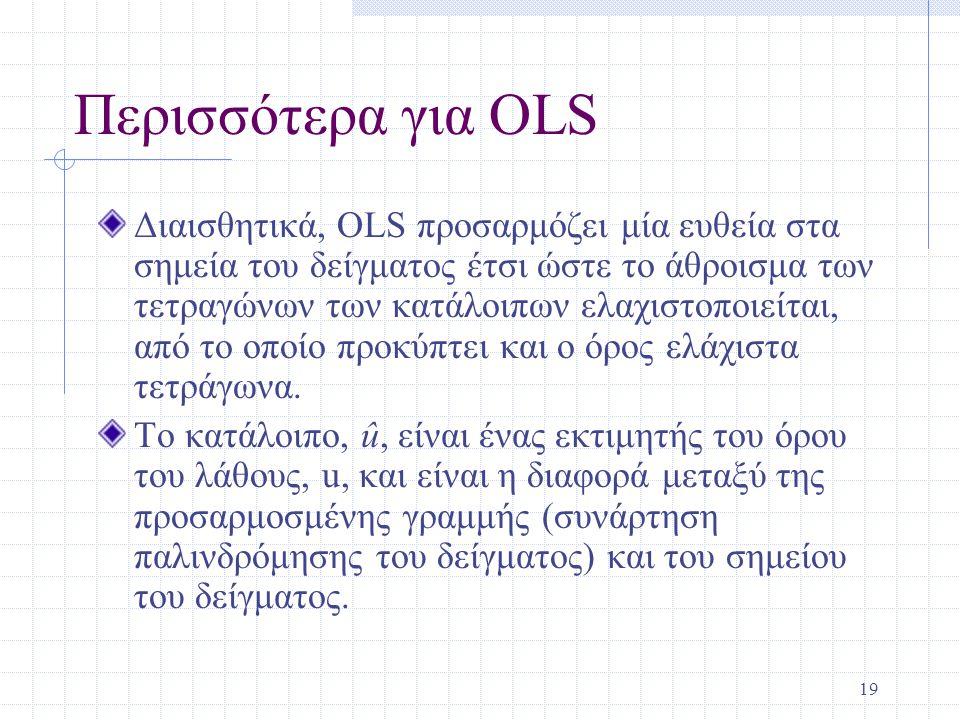 19 Περισσότερα για ΟLS Διαισθητικά, OLS προσαρμόζει μία ευθεία στα σημεία του δείγματος έτσι ώστε το άθροισμα των τετραγώνων των κατάλοιπων ελαχιστοπο