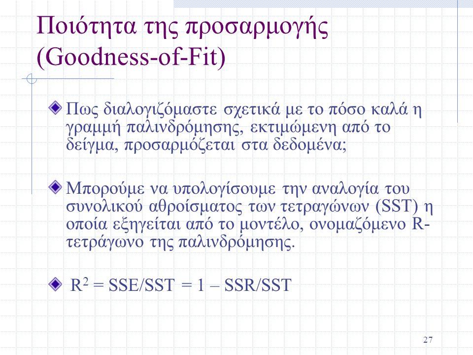 27 Ποιότητα της προσαρμογής (Goodness-of-Fit) Πως διαλογιζόμαστε σχετικά με το πόσο καλά η γραμμή παλινδρόμησης, εκτιμώμενη από το δείγμα, προσαρμόζετ