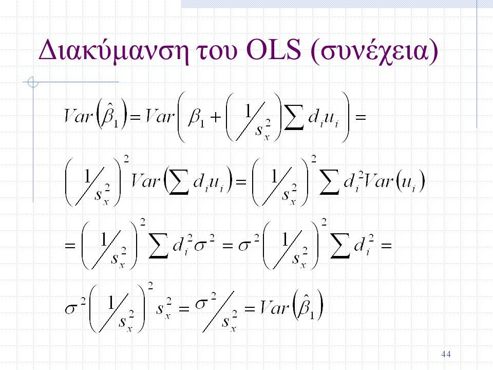 44 Διακύμανση του OLS (συνέχεια)