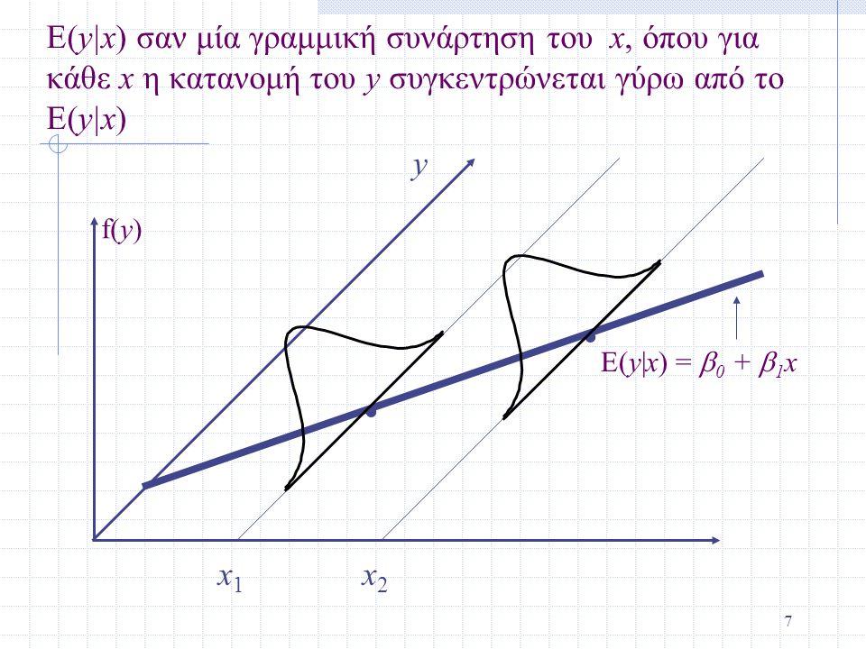 7.. x1x1 x2x2 E(y|x) σαν μία γραμμική συνάρτηση του x, όπου για κάθε x η κατανομή του y συγκεντρώνεται γύρω από το E(y|x) E(y|x) =  0 +  1 x y f(y)