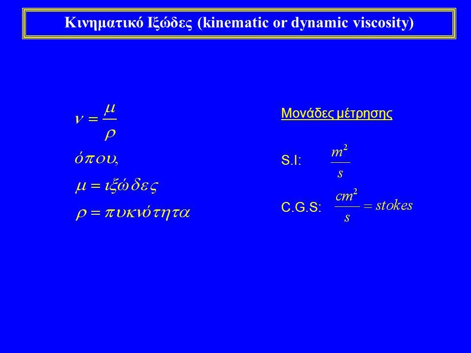 Κινηματικό Ιξώδες (kinematic or dynamic viscosity) Μονάδες μέτρησης S.I: C.G.S: