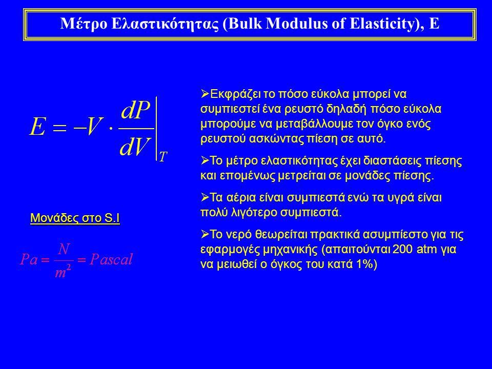 Μέτρο Ελαστικότητας (Bulk Modulus of Elasticity), E  Εκφράζει το πόσο εύκολα μπορεί να συμπιεστεί ένα ρευστό δηλαδή πόσο εύκολα μπορούμε να μεταβάλλο