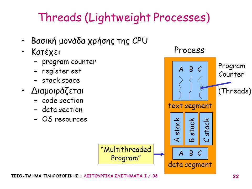 ΤΕΙΘ-ΤΜΗΜΑ ΠΛΗΡΟΦΟΡΙΚΗΣ : ΛΕΙΤΟΥΡΓΙΚΑ ΣΥΣΤΗΜΑΤΑ Ι / 03 22 Threads (Lightweight Processes) Βασική μονάδα χρήσης της CPU Κατέχει –program counter –regis