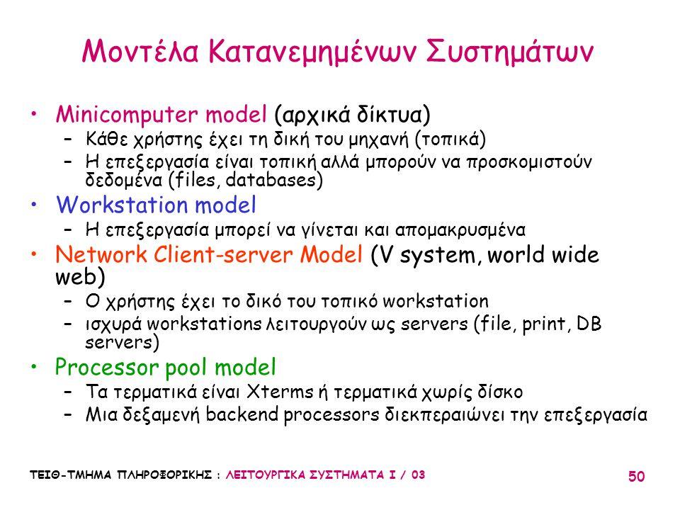 ΤΕΙΘ-ΤΜΗΜΑ ΠΛΗΡΟΦΟΡΙΚΗΣ : ΛΕΙΤΟΥΡΓΙΚΑ ΣΥΣΤΗΜΑΤΑ Ι / 03 50 Μοντέλα Κατανεμημένων Συστημάτων Minicomputer model (αρχικά δίκτυα) –Κάθε χρήστης έχει τη δι