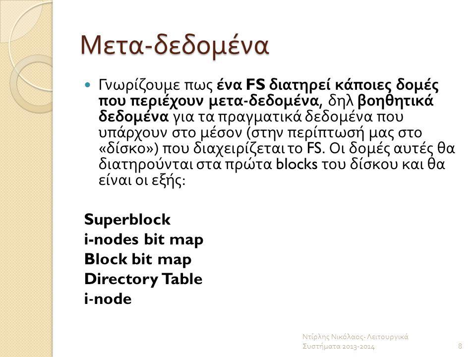 Μέγεθος των βοηθητικών δομών Λαμβάνοντας κάποιες σχεδιαστικές αποφάσεις, μπορούμε να γνωρίζουμε ακριβώς το μέγεθος σε blocks των παραπάνω δομών.