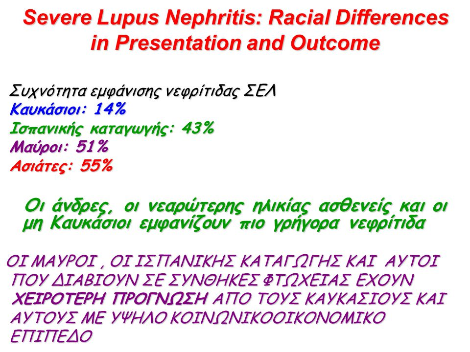 Severe Lupus Nephritis: Racial Differences in Presentation and Outcome Συχνότητα εμφάνισης νεφρίτιδας ΣΕΛ Καυκάσιοι: 14% Καυκάσιοι: 14% Ισπανικής κατα
