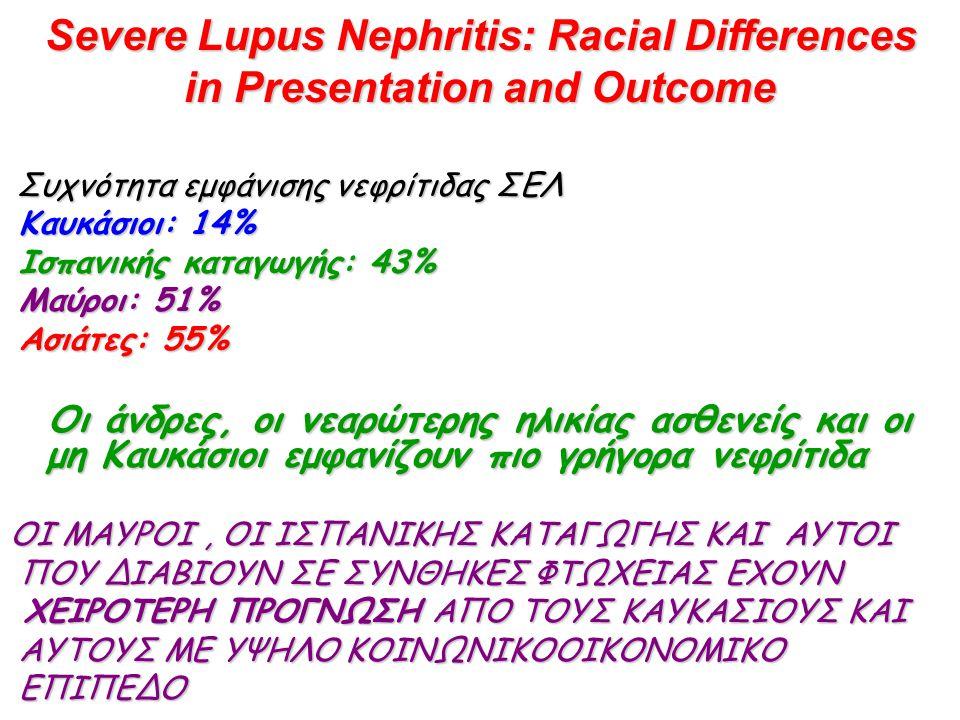 Severe Lupus Nephritis: Racial Differences in Presentation and Outcome Συχνότητα εμφάνισης νεφρίτιδας ΣΕΛ Καυκάσιοι: 14% Καυκάσιοι: 14% Ισπανικής καταγωγής: 43% Ισπανικής καταγωγής: 43% Μαύροι: 51% Μαύροι: 51% Ασιάτες: 55% Ασιάτες: 55% Οι άνδρες, οι νεαρώτερης ηλικίας ασθενείς και οι μη Καυκάσιοι εμφανίζουν πιο γρήγορα νεφρίτιδα Οι άνδρες, οι νεαρώτερης ηλικίας ασθενείς και οι μη Καυκάσιοι εμφανίζουν πιο γρήγορα νεφρίτιδα ΟΙ ΜΑΥΡΟΙ, ΟΙ ΙΣΠΑΝΙΚΗΣ ΚΑΤΑΓΩΓΗΣ ΚΑΙ ΑΥΤΟΙ ΠΟΥ ΔΙΑΒΙΟΥΝ ΣΕ ΣΥΝΘΗΚΕΣ ΦΤΩΧΕΙΑΣ ΕΧΟΥΝ ΠΟΥ ΔΙΑΒΙΟΥΝ ΣΕ ΣΥΝΘΗΚΕΣ ΦΤΩΧΕΙΑΣ ΕΧΟΥΝ ΧΕΙΡΟΤΕΡΗ ΠΡΟΓΝΩΣΗ ΑΠO ΤΟΥΣ ΚΑΥΚΑΣΙΟΥΣ ΚΑΙ ΧΕΙΡΟΤΕΡΗ ΠΡΟΓΝΩΣΗ ΑΠO ΤΟΥΣ ΚΑΥΚΑΣΙΟΥΣ ΚΑΙ ΑΥΤΟΥΣ ΜΕ ΥΨΗΛΟ ΚΟΙΝΩΝΙΚΟΟΙΚΟΝΟΜΙΚΟ ΑΥΤΟΥΣ ΜΕ ΥΨΗΛΟ ΚΟΙΝΩΝΙΚΟΟΙΚΟΝΟΜΙΚΟ ΕΠΙΠΕΔΟ ΕΠΙΠΕΔΟ