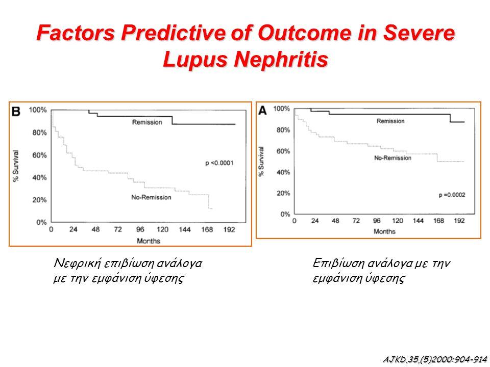 Factors Predictive of Outcome in Severe Lupus Nephritis Νεφρική επιβίωση ανάλογα με την εμφάνιση ύφεσης Επιβίωση ανάλογα με την εμφάνιση ύφεσης AJKD,3