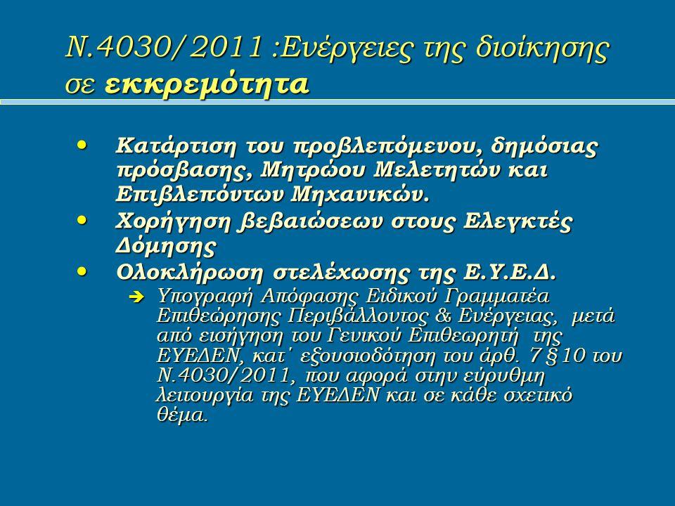Ν.4030/2011 :Ενέργειες της διοίκησης σε εκκρεμότητα Κατάρτιση του προβλεπόμενου, δημόσιας πρόσβασης, Μητρώου Μελετητών και Επιβλεπόντων Μηχανικών.
