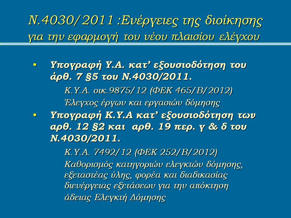 Ν.4030/2011 :Ενέργειες της διοίκησης για την εφαρμογή του νέου πλαισίου ελέγχου Υπογραφή Υ.Α.