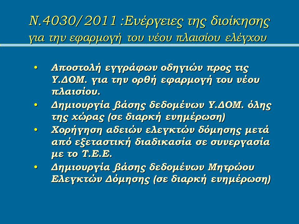 Ν.4030/2011 :Ενέργειες της διοίκησης για την εφαρμογή του νέου πλαισίου ελέγχου Αποστολή εγγράφων οδηγιών προς τις Υ.ΔΟΜ.