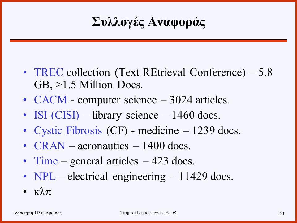 Ανάκτηση ΠληροφορίαςΤμήμα Πληροφορικής ΑΠΘ 20 Συλλογές Αναφοράς TREC collection (Text REtrieval Conference) – 5.8 GB, >1.5 Million Docs. CACM - comput