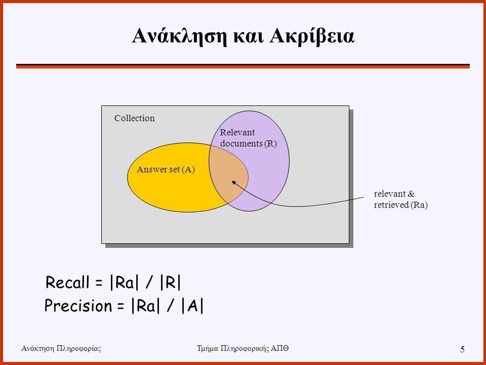 Ανάκτηση ΠληροφορίαςΤμήμα Πληροφορικής ΑΠΘ 5 Ανάκληση και Ακρίβεια Recall = |Ra| / |R| Precision = |Ra| / |A| Collection Answer set (A) Relevant docum