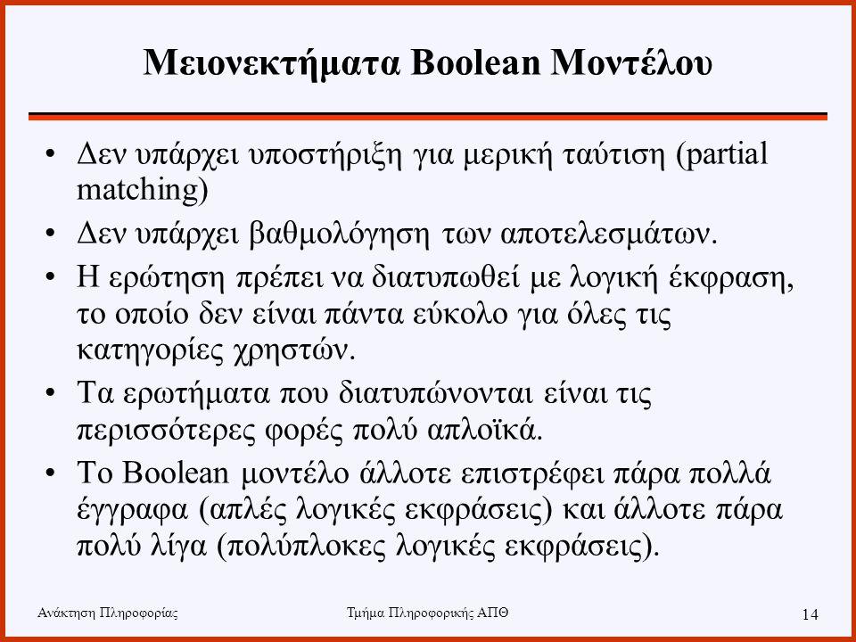 Ανάκτηση ΠληροφορίαςΤμήμα Πληροφορικής ΑΠΘ 14 Μειονεκτήματα Boolean Μοντέλου Δεν υπάρχει υποστήριξη για μερική ταύτιση (partial matching) Δεν υπάρχει