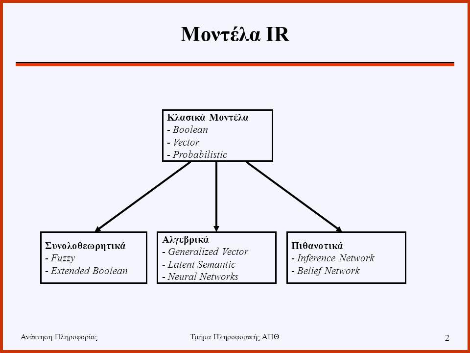 Ανάκτηση ΠληροφορίαςΤμήμα Πληροφορικής ΑΠΘ 2 Μοντέλα IR Κλασικά Μοντέλα - Boolean - Vector - Probabilistic Συνολοθεωρητικά - Fuzzy - Extended Boolean Αλγεβρικά - Generalized Vector - Latent Semantic - Neural Networks Πιθανοτικά - Inference Network - Belief Network