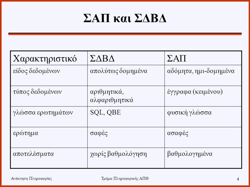 Ανάκτηση ΠληροφορίαςΤμήμα Πληροφορικής ΑΠΘ 4 ΣΑΠ και ΣΔΒΔ ΧαρακτηριστικόΣΔΒΔΣΑΠ είδος δεδομένωναπολύτως δομημένααδόμητα, ημι-δομημένα τύπος δεδομένωναριθμητικά, αλφαριθμητικά έγγραφα (κειμένου) γλώσσα ερωτημάτωνSQL, QBEφυσική γλώσσα ερώτημασαφέςασαφές αποτελέσματαχωρίς βαθμολόγησηβαθμολογημένα