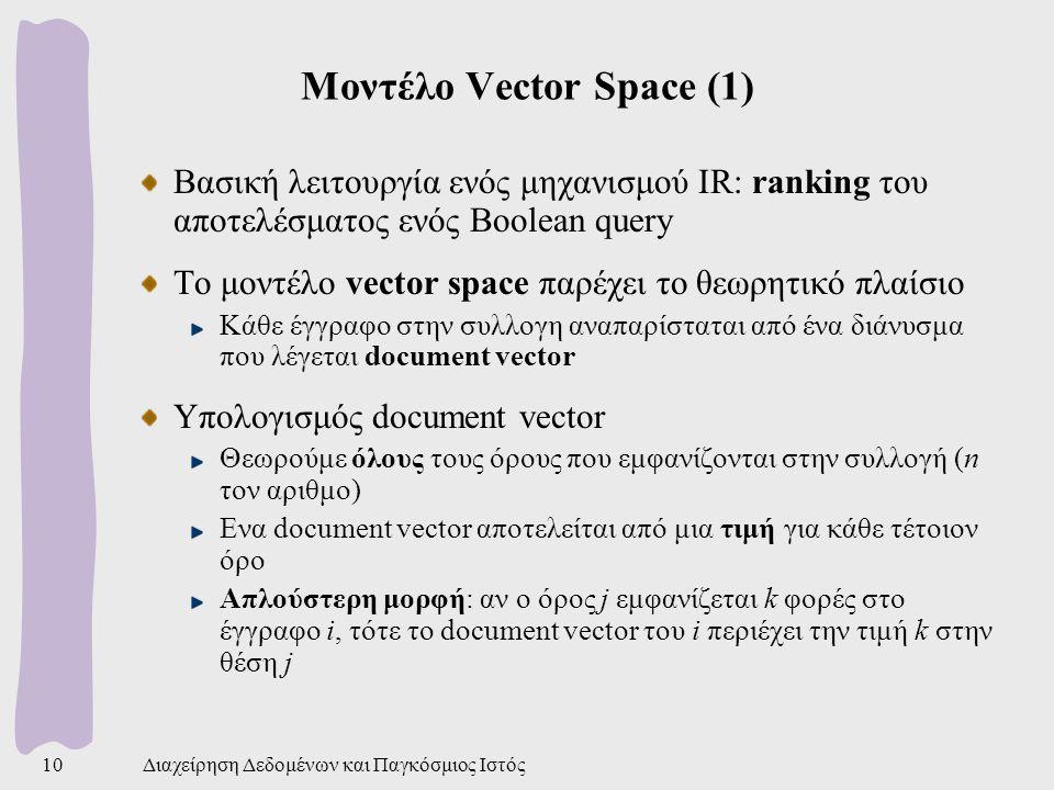 Διαχείρηση Δεδομένων και Παγκόσμιος Ιστός10 Μοντέλο Vector Space (1) Βασική λειτουργία ενός μηχανισμού IR: ranking του αποτελέσματος ενός Boolean query Το μοντέλο vector space παρέχει το θεωρητικό πλαίσιο Κάθε έγγραφο στην συλλογη αναπαρίσταται από ένα διάνυσμα που λέγεται document vector Υπολογισμός document vector Θεωρούμε όλους τους όρους που εμφανίζονται στην συλλογή (n τον αριθμο) Ενα document vector αποτελείται από μια τιμή για κάθε τέτοιον όρο Απλούστερη μορφή: αν ο όρος j εμφανίζεται k φορές στο έγγραφο i, τότε το document vector του i περιέχει την τιμή k στην θέση j