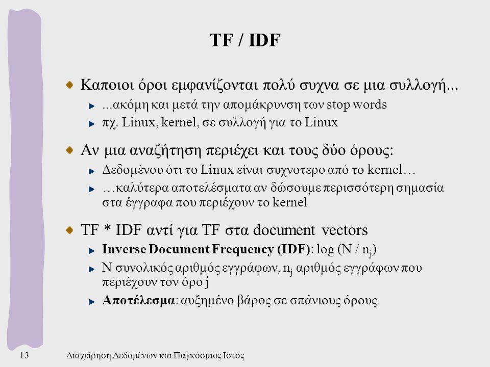Διαχείρηση Δεδομένων και Παγκόσμιος Ιστός13 TF / IDF Καποιοι όροι εμφανίζονται πολύ συχνα σε μια συλλογή......ακόμη και μετά την απομάκρυνση των stop words πχ.