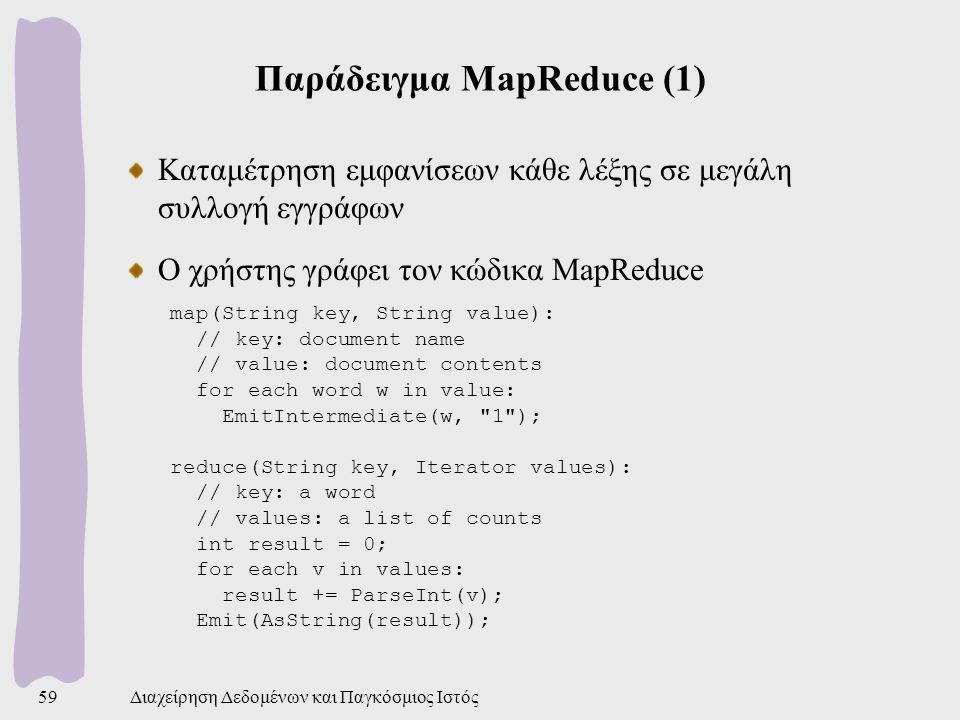 Παράδειγμα MapReduce (1) Καταμέτρηση εμφανίσεων κάθε λέξης σε μεγάλη συλλογή εγγράφων Ο χρήστης γράφει τον κώδικα MapReduce map(String key, String value): // key: document name // value: document contents for each word w in value: EmitIntermediate(w, 1 ); reduce(String key, Iterator values): // key: a word // values: a list of counts int result = 0; for each v in values: result += ParseInt(v); Emit(AsString(result)); Διαχείρηση Δεδομένων και Παγκόσμιος Ιστός59