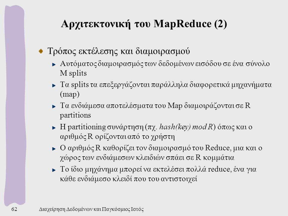 Αρχιτεκτονική του MapReduce (2) Τρόπος εκτέλεσης και διαμοιρασμού Αυτόματος διαμοιρασμός των δεδομένων εισόδου σε ένα σύνολο M splits Τα splits τα επεξεργάζονται παράλληλα διαφορετικά μηχανήματα (map) Τα ενδιάμεσα αποτελέσματα του Map διαμοιράζονται σε R partitions Η partitioning συνάρτηση (πχ.