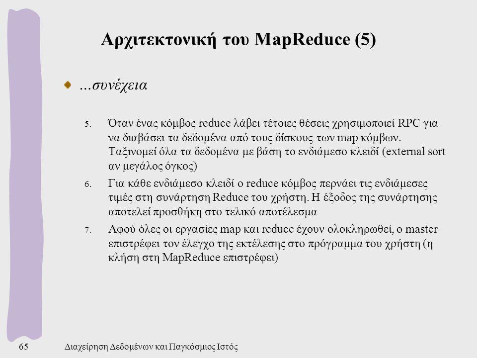 Αρχιτεκτονική του MapReduce (5) …συνέχεια 5.