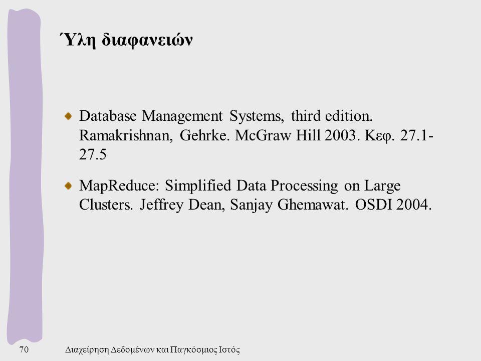Ύλη διαφανειών Database Management Systems, third edition.
