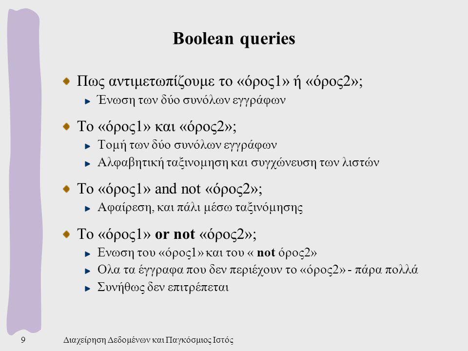 Διαχείρηση Δεδομένων και Παγκόσμιος Ιστός9 Boolean queries Πως αντιμετωπίζουμε το «όρος1» ή «όρος2»; Ένωση των δύο συνόλων εγγράφων Το «όρος1» και «όρος2»; Τομή των δύο συνόλων εγγράφων Αλφαβητική ταξινομηση και συγχώνευση των λιστών Το «όρος1» and not «όρος2»; Αφαίρεση, και πάλι μέσω ταξινόμησης Το «όρος1» or not «όρος2»; Ενωση του «όρος1» και του « not όρος2» Ολα τα έγγραφα που δεν περιέχουν το «όρος2» - πάρα πολλά Συνήθως δεν επιτρέπεται