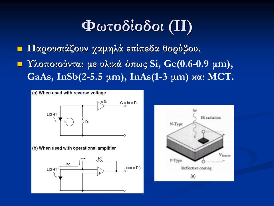 Φωτοδίοδοι (ΙΙ) Παρουσιάζουν χαμηλά επίπεδα θορύβου. Παρουσιάζουν χαμηλά επίπεδα θορύβου. Υλοποιούνται με υλικά όπως Υλοποιούνται με υλικά όπως Si, Ge