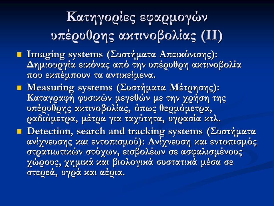 Κατηγορίες εφαρμογών υπέρυθρης ακτινοβολίας (ΙΙ) Imaging systems (Συστήματα Απεικόνισης): Δημιουργία εικόνας από την υπέρυθρη ακτινοβολία που εκπέμπουν τα αντικείμενα.