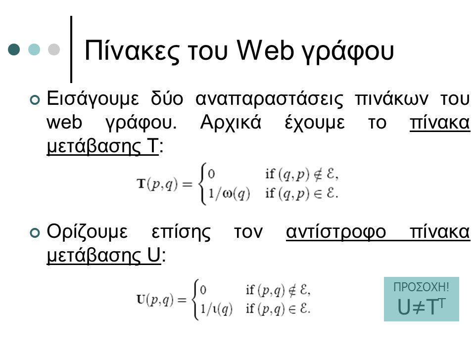 Πίνακες του Web γράφου Εισάγουμε δύο αναπαραστάσεις πινάκων του web γράφου. Αρχικά έχουμε το πίνακα μετάβασης Τ: Ορίζουμε επίσης τον αντίστροφο πίνακα