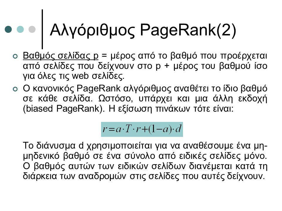 Αλγόριθμος PageRank(2) Βαθμός σελίδας p = μέρος από το βαθμό που προέρχεται από σελίδες που δείχνουν στο p + μέρος του βαθμού ίσο για όλες τις web σελ