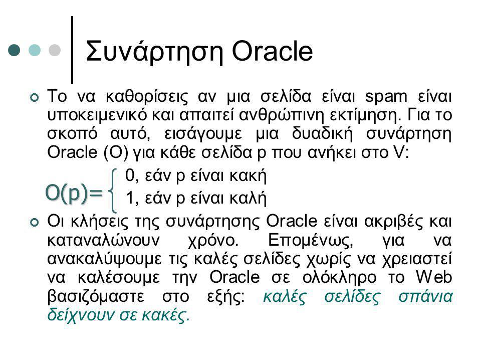 Συνάρτηση Oracle Το να καθορίσεις αν μια σελίδα είναι spam είναι υποκειμενικό και απαιτεί ανθρώπινη εκτίμηση. Για το σκοπό αυτό, εισάγουμε μια δυαδική