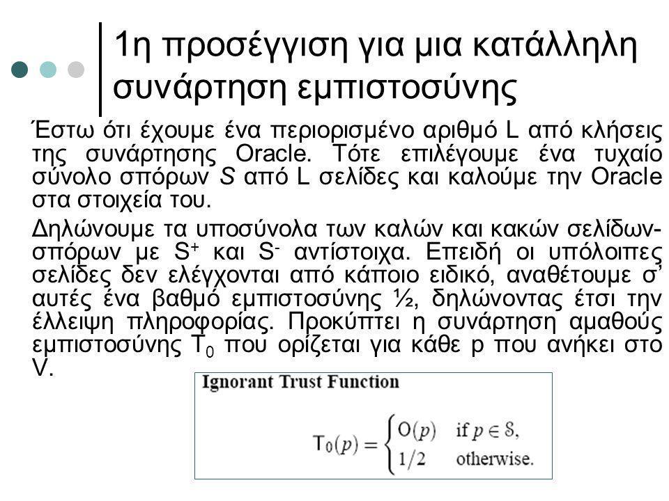 1η προσέγγιση για μια κατάλληλη συνάρτηση εμπιστοσύνης Έστω ότι έχουμε ένα περιορισμένο αριθμό L από κλήσεις της συνάρτησης Oracle. Τότε επιλέγουμε έν