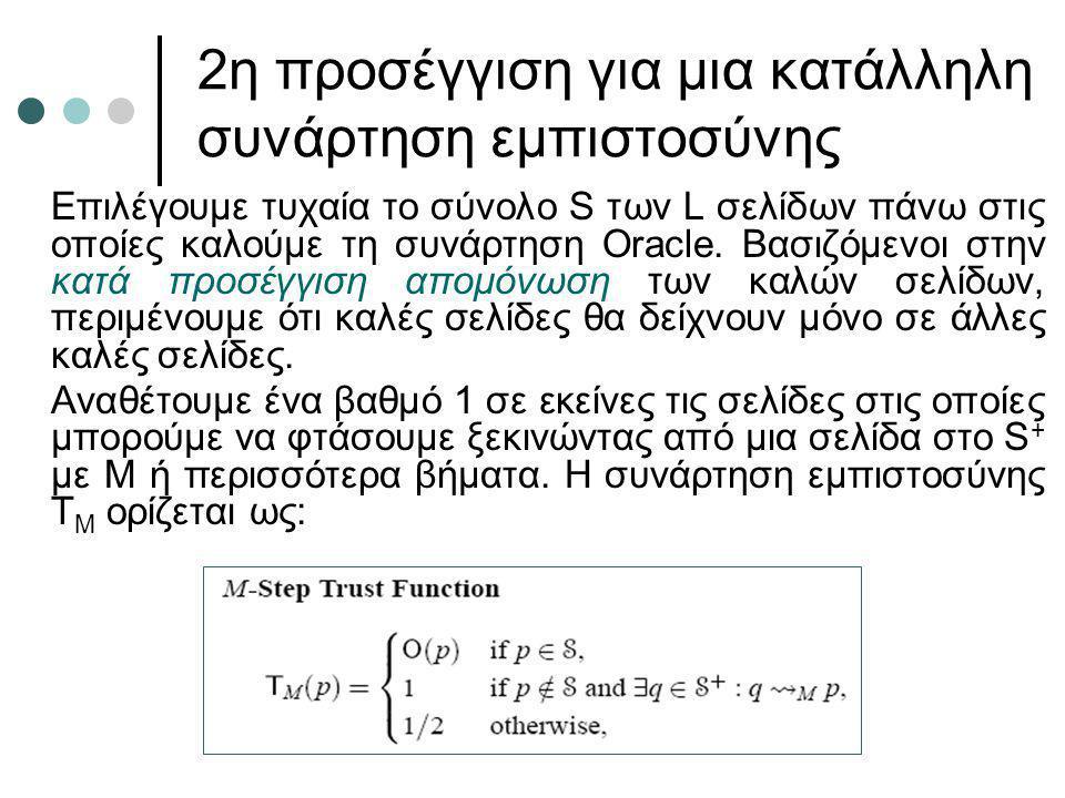 2η προσέγγιση για μια κατάλληλη συνάρτηση εμπιστοσύνης Επιλέγουμε τυχαία το σύνολο S των L σελίδων πάνω στις οποίες καλούμε τη συνάρτηση Oracle. Βασιζ