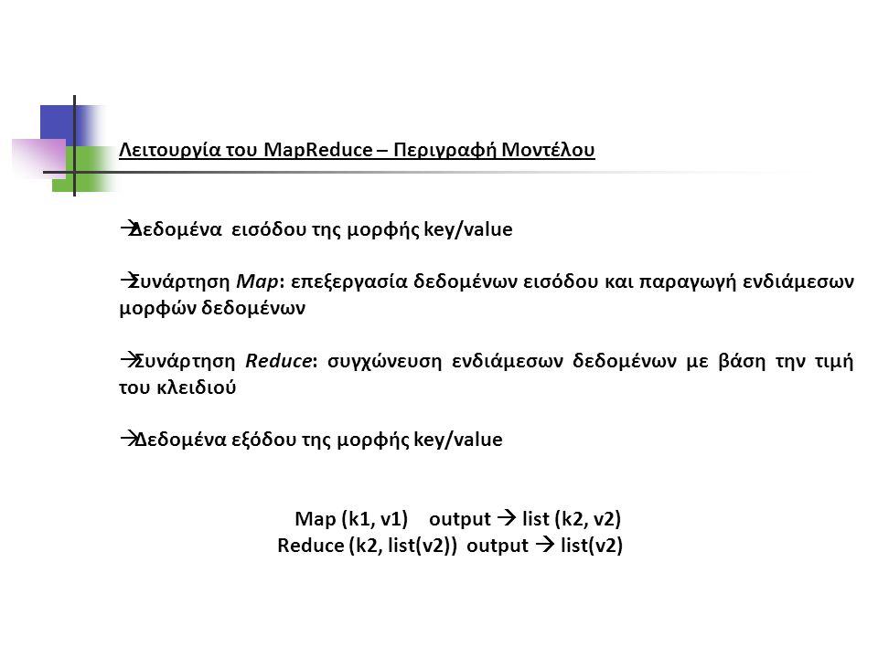 Λειτουργία του MapReduce – Περιγραφή Μοντέλου  Δεδομένα εισόδου της μορφής key/value  Συνάρτηση Map: επεξεργασία δεδομένων εισόδου και παραγωγή ενδιάμεσων μορφών δεδομένων  Συνάρτηση Reduce: συγχώνευση ενδιάμεσων δεδομένων με βάση την τιμή του κλειδιού  Δεδομένα εξόδου της μορφής key/value Map (k1, v1) output  list (k2, v2) Reduce (k2, list(v2)) output  list(v2)