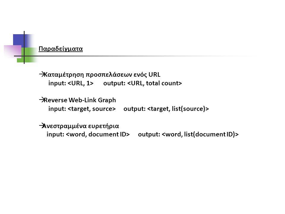 Παραδείγματα  Καταμέτρηση προσπελάσεων ενός URL input: output:  Reverse Web-Link Graph input: output:  Ανεστραμμένα ευρετήρια input: output: