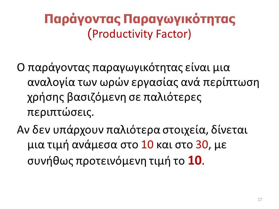Παράγοντας Παραγωγικότητας ( Productivity Factor) Ο παράγοντας παραγωγικότητας είναι μια αναλογία των ωρών εργασίας ανά περίπτωση χρήσης βασιζόμενη σε παλιότερες περιπτώσεις.