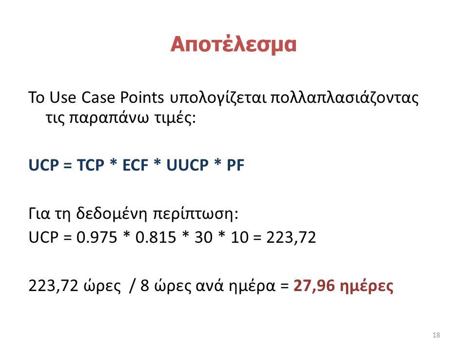 Αποτέλεσμα Το Use Case Points υπολογίζεται πολλαπλασιάζοντας τις παραπάνω τιμές: UCP = TCP * ECF * UUCP * PF Για τη δεδομένη περίπτωση: UCP = 0.975 * 0.815 * 30 * 10 = 223,72 223,72 ώρες / 8 ώρες ανά ημέρα = 27,96 ημέρες 18