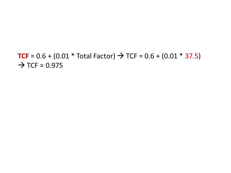 TCF = 0.6 + (0.01 * Total Factor)  TCF = 0.6 + (0.01 * 37.5)  TCF = 0.975