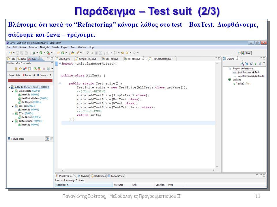 11Παναγιώτης Σφέτσος, Μεθοδολογίες Προγραμματισμού ΙΙ Βλέπουμε ότι κατά το Refactoring κάναμε λάθος στο test – BoxTest.
