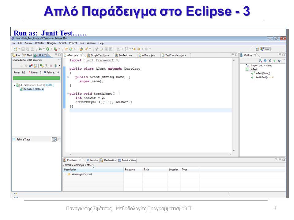 4Παναγιώτης Σφέτσος, Μεθοδολογίες Προγραμματισμού ΙΙ Run as: Junit Test…… Απλό Παράδειγμα στο Eclipse - 3