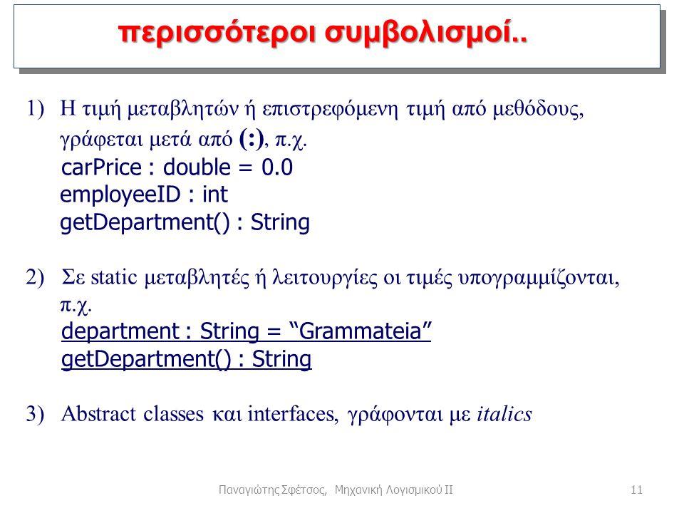 11Παναγιώτης Σφέτσος, Μηχανική Λογισμικού ΙΙ περισσότεροι συμβολισμοί.. 1)Η τιμή μεταβλητών ή επιστρεφόμενη τιμή από μεθόδους, γράφεται μετά από (:),