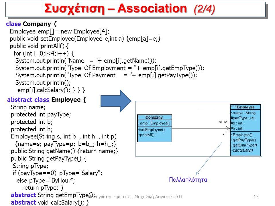 13Παναγιώτης Σφέτσος, Μηχανική Λογισμικού ΙΙ Συσχέτιση – Association (2/4) abstract class Employee { String name; protected int payType; protected int