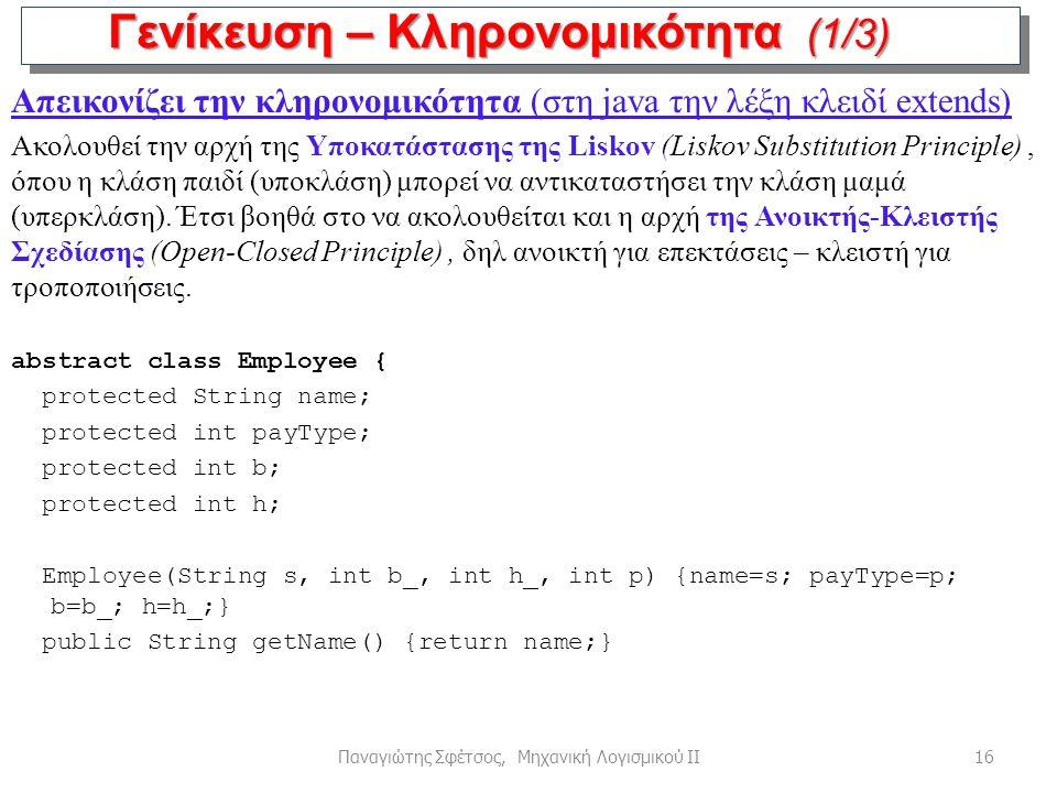 16Παναγιώτης Σφέτσος, Μηχανική Λογισμικού ΙΙ Γενίκευση – Κληρονομικότητα (1/3) Απεικονίζει την κληρονομικότητα (στη java την λέξη κλειδί extends) Ακολ