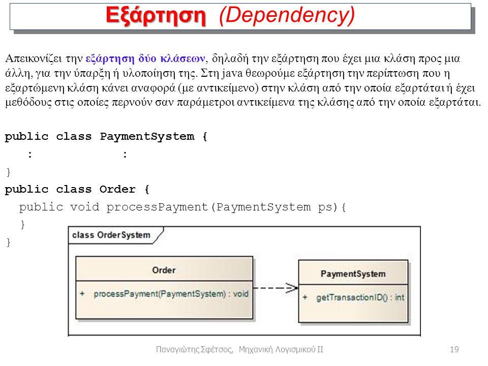 19Παναγιώτης Σφέτσος, Μηχανική Λογισμικού ΙΙ Εξάρτηση Εξάρτηση (Dependency) Απεικονίζει την εξάρτηση δύο κλάσεων, δηλαδή την εξάρτηση που έχει μια κλά