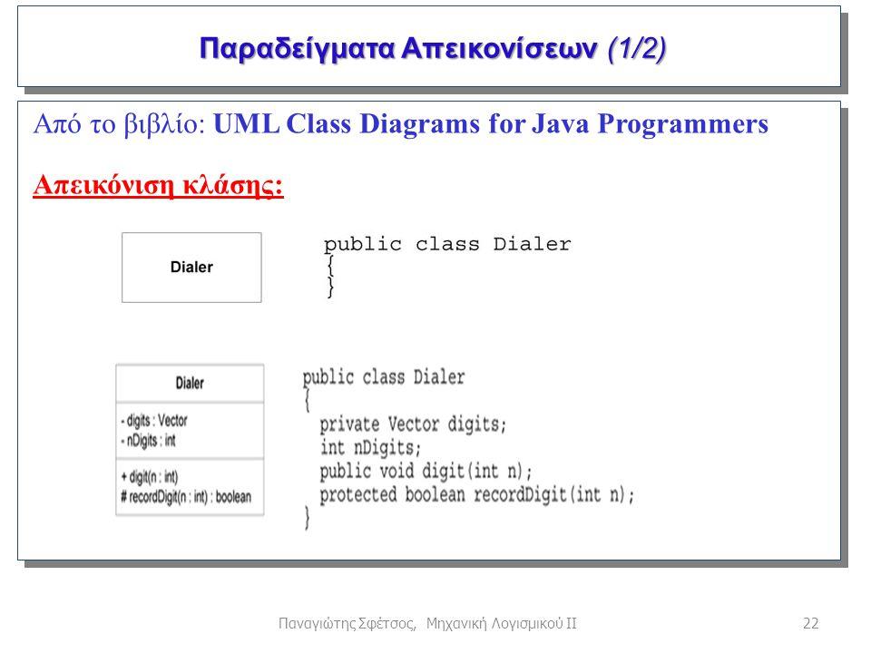 22Παναγιώτης Σφέτσος, Μηχανική Λογισμικού ΙΙ Παραδείγματα Απεικονίσεων (1/2) Παραδείγματα Απεικονίσεων (1/2) Από το βιβλίο: UML Class Diagrams for Jav